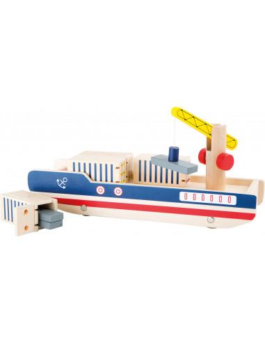 Drevená kontajnerová loď so žeriavom