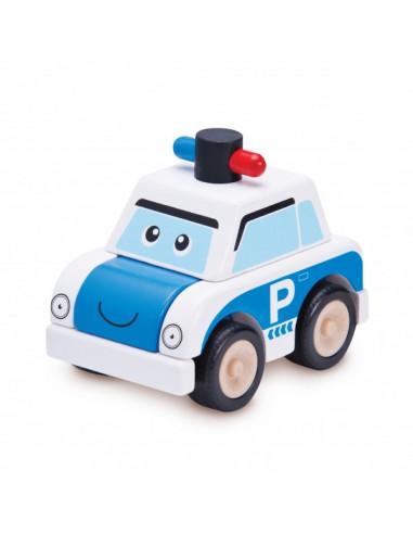 Drevené mini policajné auto