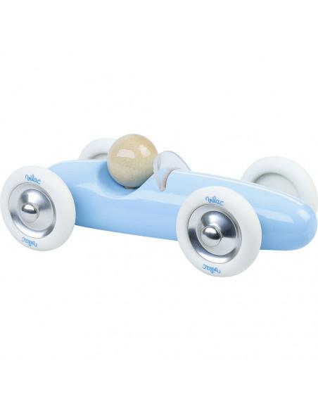 Drevené auto veľké Grand prix vintage svetlo modré