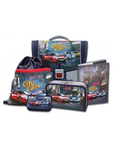 Školský aktovkový set City Cars 5-díný